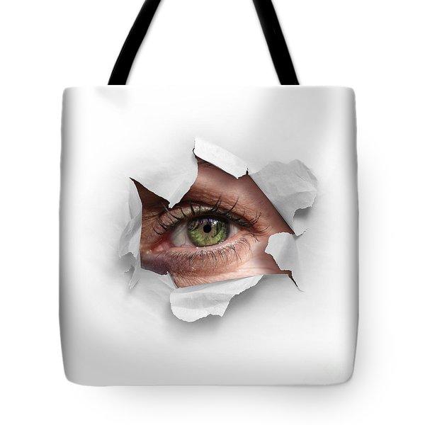 Peek Through A Hole Tote Bag by Carlos Caetano