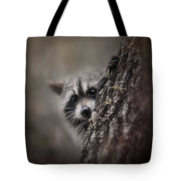 Peekaboo Raccoon Art Tote Bag by Jai Johnson