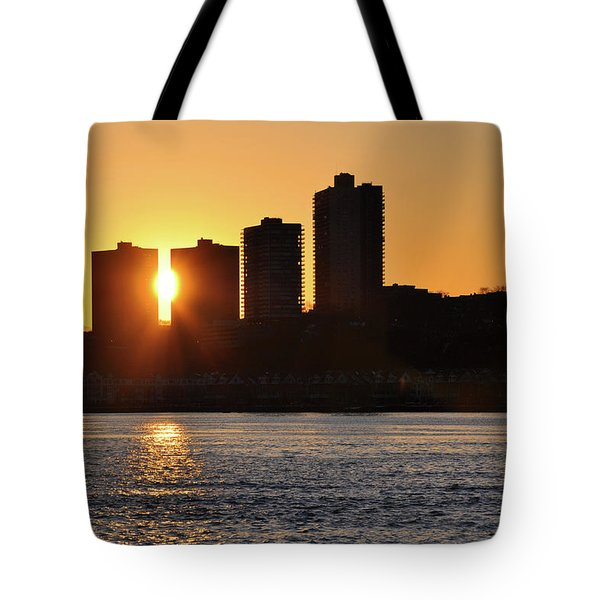 Tote Bag featuring the photograph Peekaboo Sunset by Sarah McKoy