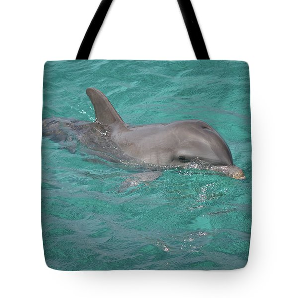 Peeking Dolphin Tote Bag