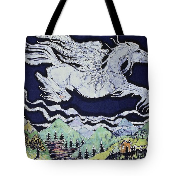 Pegasus Flying Over Stream Tote Bag