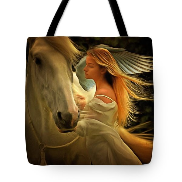 Tote Bag featuring the painting Pegasus Or Angel by Harry Warrick