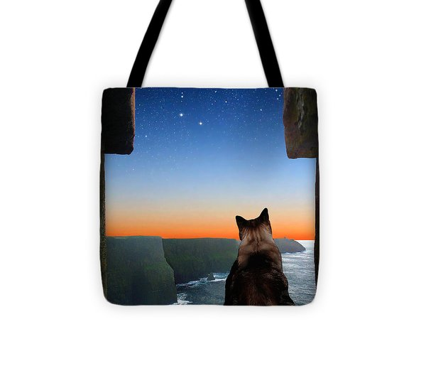 Pegasus Over The Cliffs Of Moher Tote Bag by Kathleen Horner