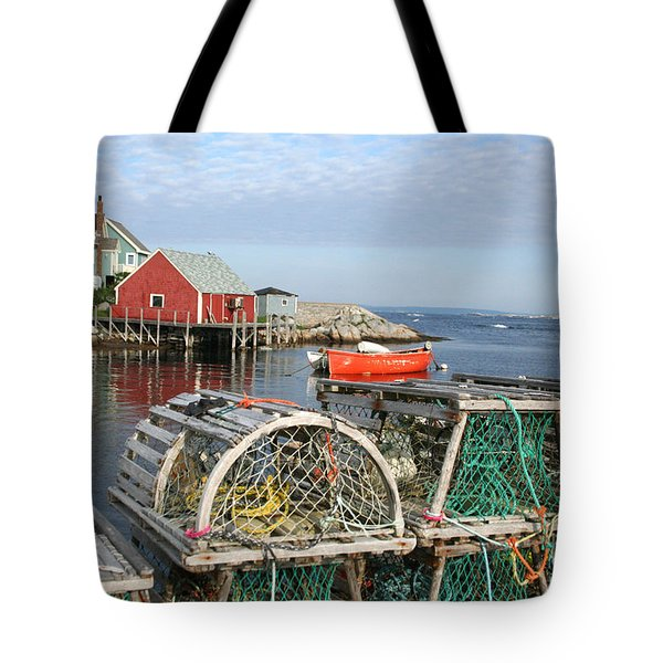 Peggys Cove And Lobster Traps Tote Bag by Thomas Marchessault