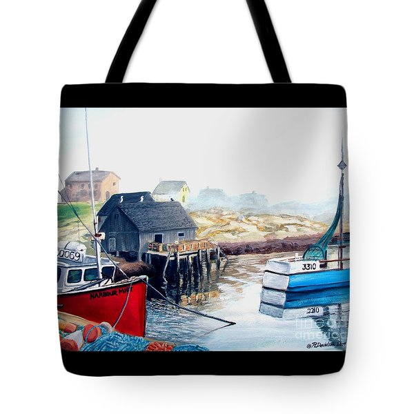 Tote Bag featuring the painting Peggy's Cove Harbour by Patricia L Davidson