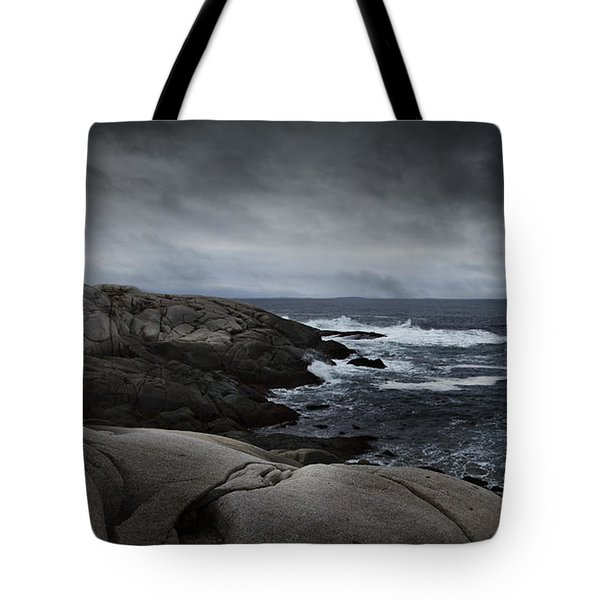 Tote Bag featuring the photograph Peggys Cove Impending Storm by Nancy Dempsey