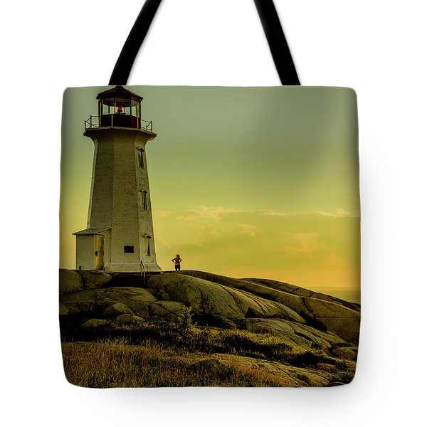 Peggys Cove Lighthouse At Sunset  Tote Bag