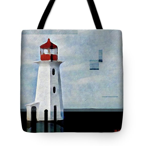Tote Bag featuring the mixed media Peggys Cove Lighthouse Painterly Look by Carol Leigh