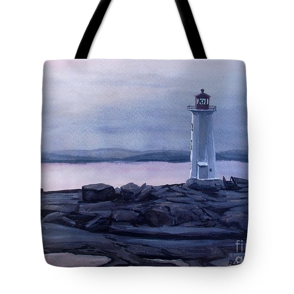 Tote Bag featuring the painting Peggy's Cove Lighthouse  by Patricia L Davidson