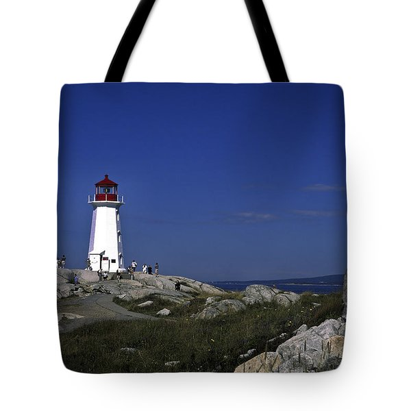 Peggy's Cove Lighthouse Tote Bag by Sally Weigand