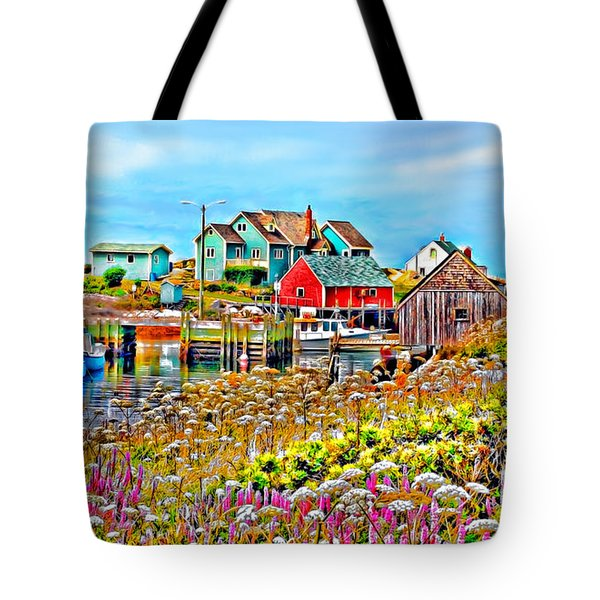 Peggy's Cove Wildflower Harbour Tote Bag