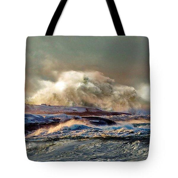 Peggy's Cove Winter Storm - Nova Scotia Tote Bag