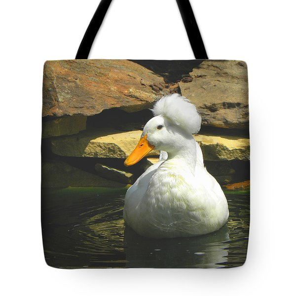 Tote Bag featuring the photograph Pekin Pop Top Duck by Sandi OReilly