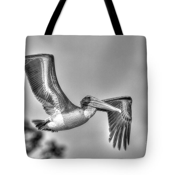 Tote Bag featuring the photograph Pelican-4443 Bnw by Tommy Patterson