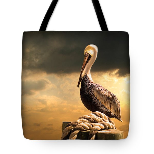 Pelican After A Storm Tote Bag by Mal Bray