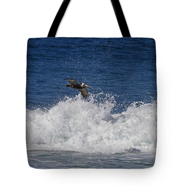 Pelican And Waves Tote Bag