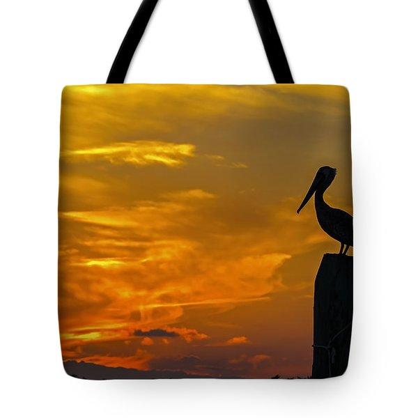 Pelican At Silver Lake Sunset Ocracoke Island Tote Bag