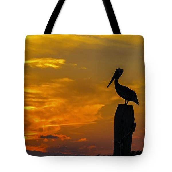Pelican At Silver Lake Sunset Ocracoke Island Tote Bag