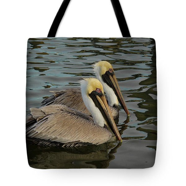 Tote Bag featuring the photograph Pelican Duo by Jean Noren