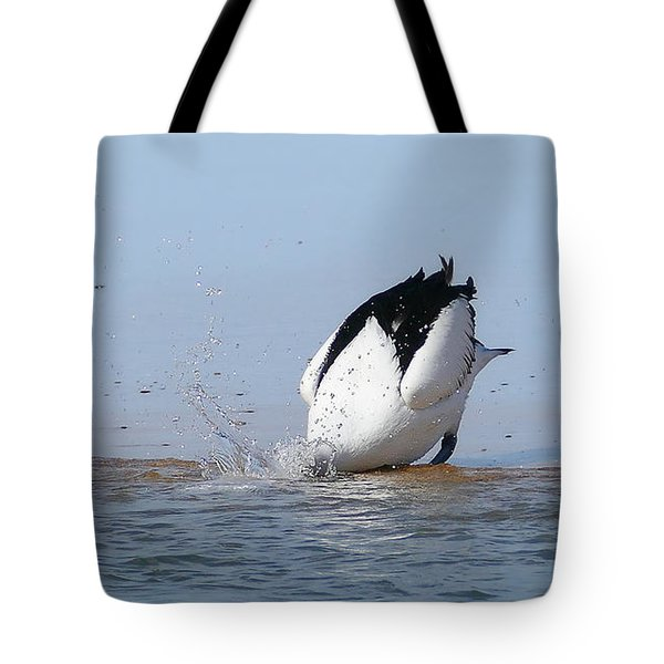 Tote Bag featuring the photograph Pelican Fishing 001 by Kevin Chippindall