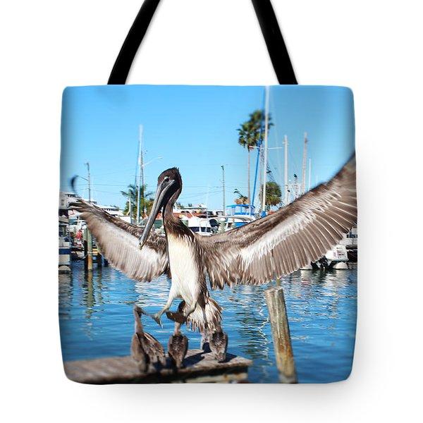 Pelican Flying In Tote Bag