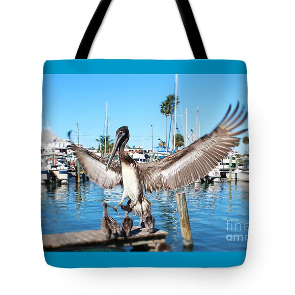 Pelican Flying In Tote Bag