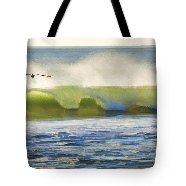 Pelican Flying Over Wind Wave Tote Bag