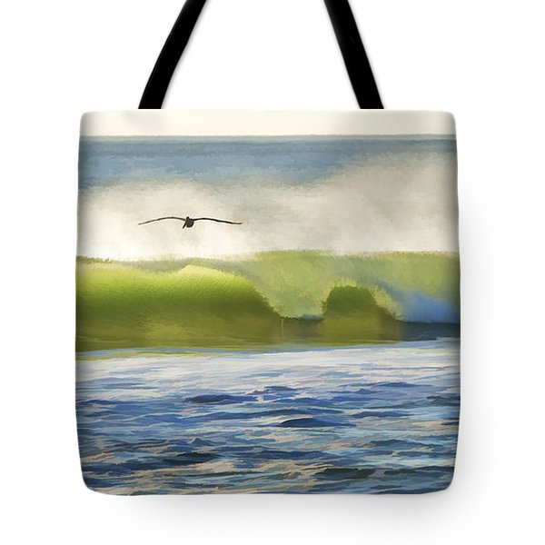Pelican Flying Over Wind Wave Tote Bag