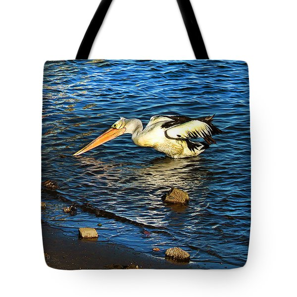 Pelican In Action Tote Bag by Susan Vineyard