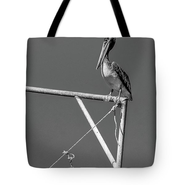 Pelican In Black And White Tote Bag