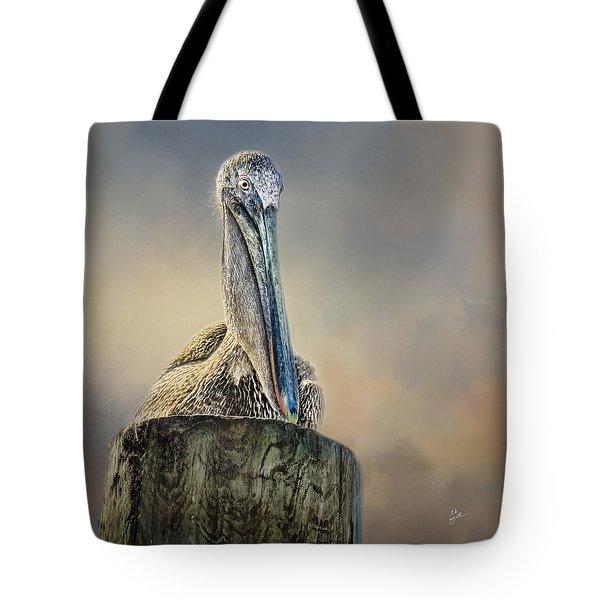 Pelican In Paradise Squared Tote Bag