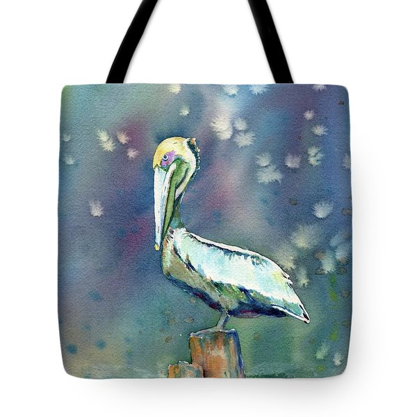 Tote Bag featuring the painting Pelican by Mary Haley-Rocks