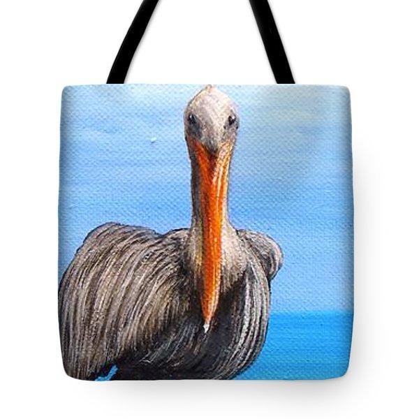 Pelican On Pier Tote Bag