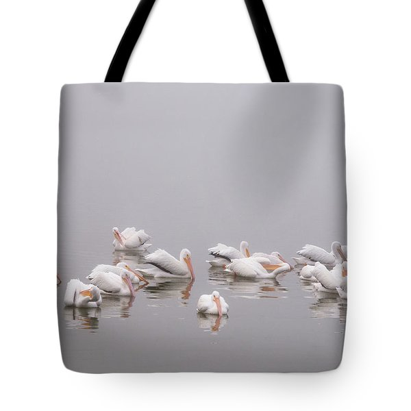 Pelicans On The Lake Tote Bag by Carolyn Dalessandro