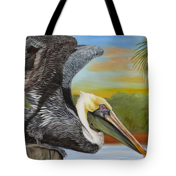 Tote Bag featuring the painting Pelican Paradise by Phyllis Beiser