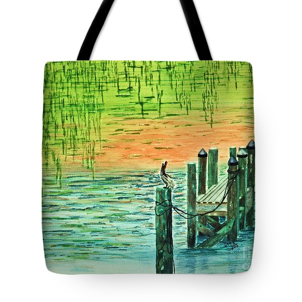 Tote Bag featuring the painting Pelican Perch by Terri Mills