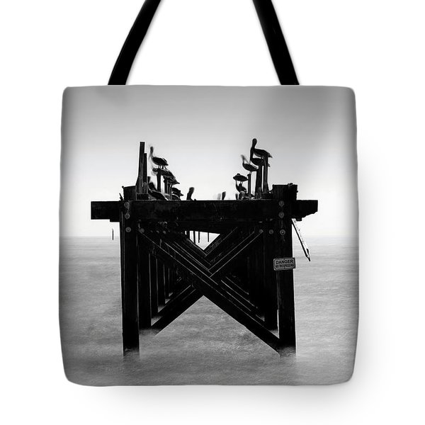 Tote Bag featuring the photograph Pelican Pier - Pass Christian - Mississippi by Jason Politte