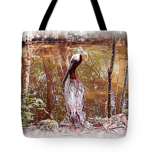 Pelican Posed Tote Bag by Martha Ayotte