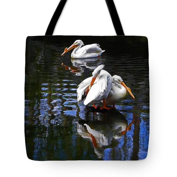 Pelican Reflections Tote Bag by Judy Wanamaker