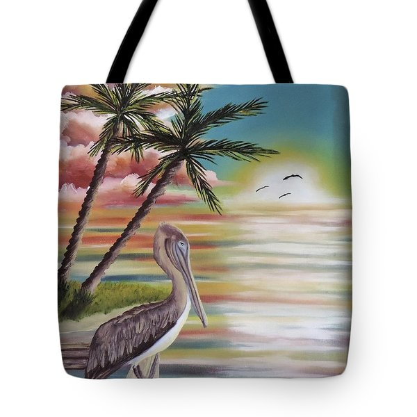 Pelican Sunset Tote Bag by Dianna Lewis