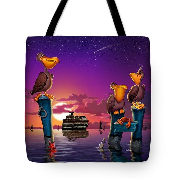 Pelican Sunset Whimsical Cartoon Tropical Birds Florida Seascape - Square Format Tote Bag