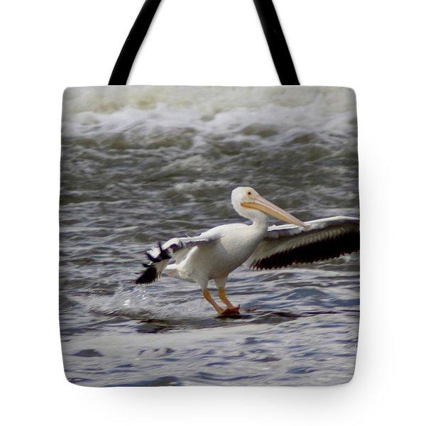Pelican Water Skiing Tote Bag