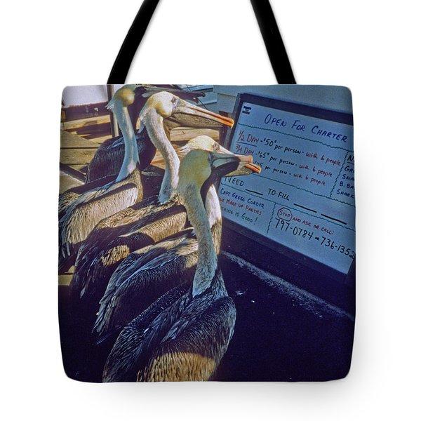 Pelicans And The Menu Tote Bag