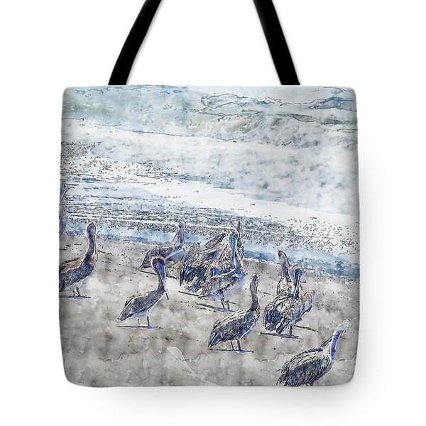 Tote Bag featuring the digital art Pelicans by Anthony Murphy