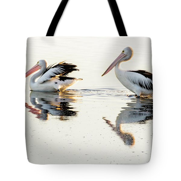 Pelicans At Dusk Tote Bag by Werner Padarin