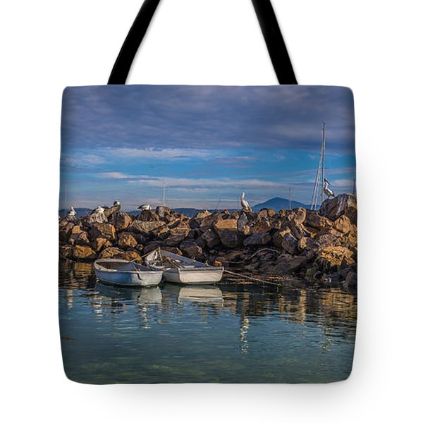 Pelicans At Eden Wharf Tote Bag