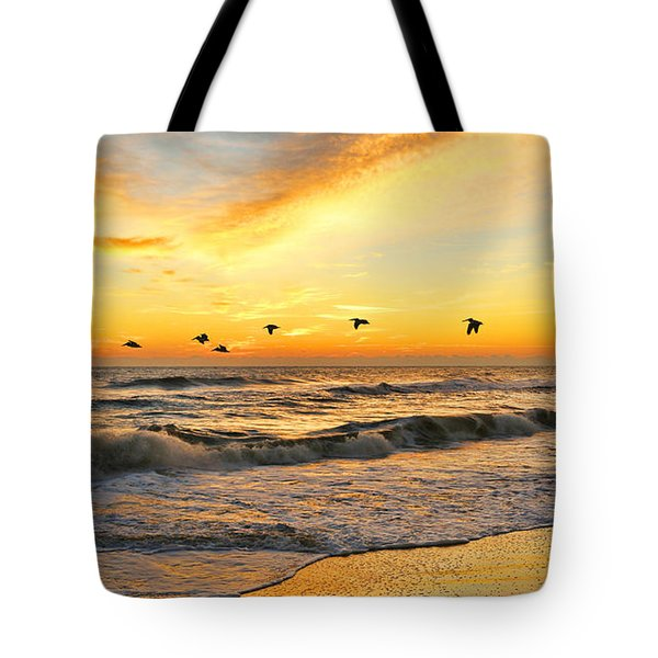 Pelicans At Sunrise  Signed 4651b 2  Tote Bag by Jack Schultz