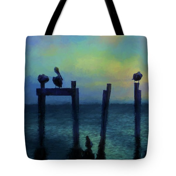 Tote Bag featuring the photograph Pelicans At Sunset by Jan Amiss Photography