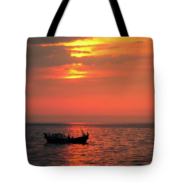 Pelicans At Sunset Tote Bag