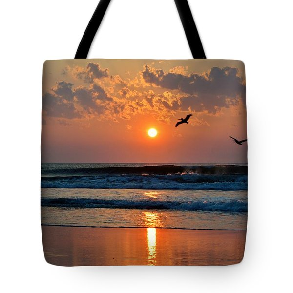 Pelicans On The Move Tote Bag
